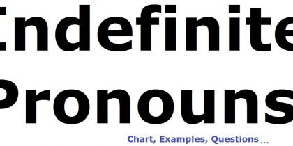 Indefinite Pronouns Chart, Definition, Examples And Exercise 2018